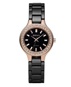Rose gold and black DKNY watch