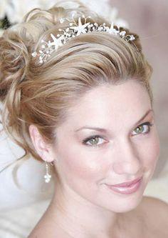 Rhinestone tiara with flowers and ivory pearls by besomethingnew tiarag classic updo hairstylestiara pmusecretfo Images