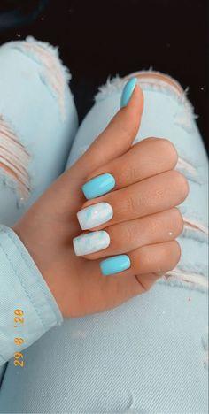 Acrylic Nails Coffin Short, Blue Acrylic Nails, Simple Acrylic Nails, Acrylic Nail Designs, Square Acrylic Nails, Simple Nails, Marble Nails, Pastel Blue Nails, Cute Gel Nails