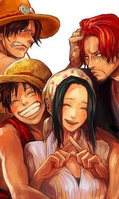 Ace, Luffy, Shanks e Makino - One Piece