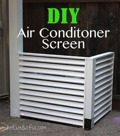 Disguise your AC with a DIY Louvered Screen. This design allows for plenty of air flow to your A/C yet hides it from view. Plus cuts down on the noise! via http://www.TheKimSixFix.com #TheKimSixFix