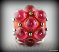 Flaming Treasure's Orange Berry Bauble~Focal~Handmade~Lampwork Bead~SRA~USA #Handmadeglassbeads #Lampwork
