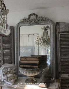White Grey Patina - French Mirror - French Shutters - Stoneware - Urns - Vintage books - Chandelier Atelier De Campagne