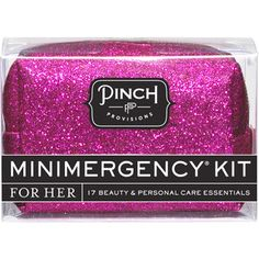 Pink Glitter Minimergency Kit contains 17 essentials to save you in a pinch. Pinch Provisions.