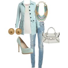 LOLO Moda: Women wear love the pastel colors. Trend Fashion, Look Fashion, Fashion Outfits, Womens Fashion, Cute Fall Outfits, Casual Outfits, Looks Style, My Style, Daily Style