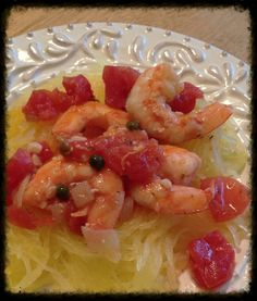 Shrimp with tomatoes over spaghetti squash by famfriendsfood - quick, easy and full of flavor