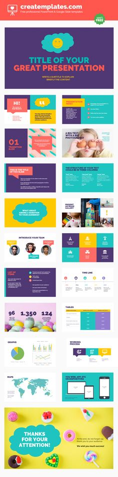 Fun. Use this template for your most casual presentations. It is designed with vibrant colors and fun pictures that convey a good mood. You can use it for an event, for your class work or to present your business in a different way.