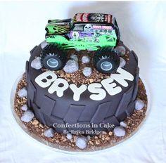 Confections in Cake Monster Jam Cake, Monster Truck Cupcakes, Monster Truck Birthday Cake, Monster Trucks, Monster Truck Party, Digger Birthday Parties, 4th Birthday, Birthday Ideas, Tire Cake