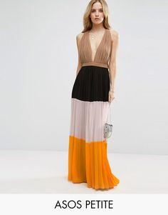 0bcbc5a96 Buy it now. ASOS PETITE Pleated Plunge Colourblock Maxi Dress - Multi. Petite  dress