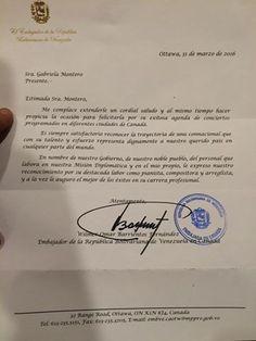 La pianista venezolana Gabriela Montero le respondió con una carta al embajador de Venezuela en Canadá, Wilmer Barrientos, quien le envió flores antes de s
