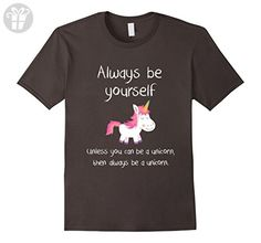 Mens Always Be Yourself Unless You Can Be A Unicorn Funny T-shirt Small Asphalt - Funny shirts (*Amazon Partner-Link)