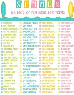 """Teen Summer Bucket List - Free Printable  Summer is just around the corner. My teen is planning all kids of things but you know there is those days that come along where you hear the words """"I am bored!"""". I decided before I had to hear those epic words I w"""