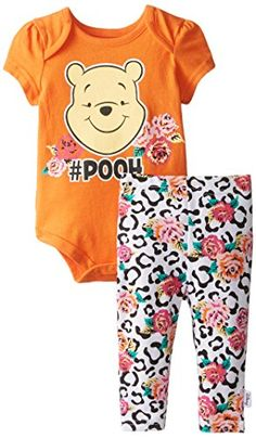 Disney Baby Girls'  Winnie The Pooh Creeper and Legging Set, Sunstroke, 6 Months Disney