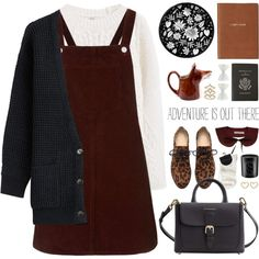 pinafore dress by jesuisunlapin on Polyvore featuring polyvore, fashion, style, Topshop, Closed, MANGO, Burberry, LC Lauren Conrad, Marc by Marc Jacobs and Accessorize