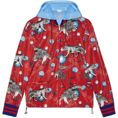 Gucci Space Animals Print Windbreaker ( 1,490) ❤ liked on Polyvore  featuring men s fashion, men s clothing, red and gucci mens clothing b4bf3281d60