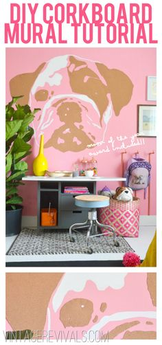 DIY Corkboard Wall Mural Bulldog Style (what a fun way to add art to your kids room!!)