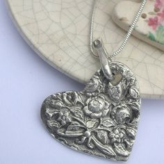 silver vintage style heart necklace by xuella arnold jewellery   notonthehighstreet.com Vintage Style, Vintage Fashion, Vintage Heart, Soft Furnishings, Pendant Necklace, Jewellery, Silver, Jewels, Reupholster Furniture