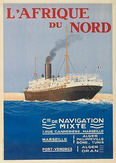 Compagnie de Navigation Mixte - L'Afrique du Nord - illustration de Georges Hook (Georges Taboureau) -