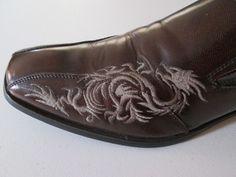 Giorgio Brutini Mens Shoes Dragon Stitched  On Brown Size 10M Slip On Dress #GiorgioBrutini #LoafersSlipOns