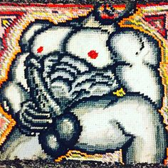 Erotic needlepoint; varied designs, sizes and prices available; ALL one of a kind  Facebook page, BamBam's Place
