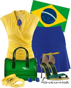 """Brazil Flag Inspired"" by loveronica ❤ liked on Polyvore"