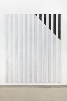 Daniel Buren - Paint On/Under Plex­i­glas on Serig­ra­phy, Right Cor­ner Up Out, No. 1 Black, Sit­u­ated Work, 2013 acrylic paint on plex­i­glas over striped cot­ton can­vas 98 ½ x 82 ¾ x ¼ inches (250.2 x 82 ¾ x .6 cm)