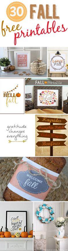 30 Free Fall Printables - Pretty My Party #free #fall #printables