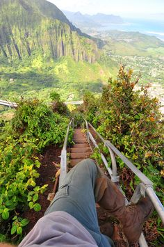 Descending the Haiku Stairs.  Please be advised hiking the Stairway to Heaven is illegal.  Oahu