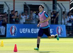 "Matteo Darmian of Italy in action during the training session at ""Bernard Gasset"" Training Center on June 9, 2016 in Montpellier, France."