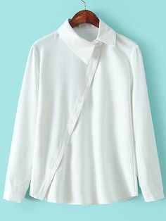 White Lapel Oblique Buttons Casual Blouse -SheIn(Sheinside)