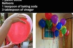 May 2016 - Fill floating balloons on your own at home (without helium! Helium Alternative, Party Decoration, Helium Balloons, Plastic Bottles, Vinegar, Baking Soda, Diy And Crafts, Alcohol, Catalog