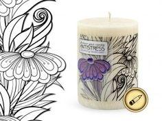 relaxační vybarvovací svíčka Antistress - Venkovská levandule Pillar Candles, Taper Candles, Candles