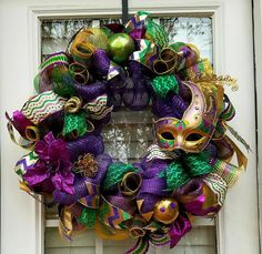 Check out this item in my Etsy shop https://www.etsy.com/listing/483662864/mardi-gras-wreathmardi-gras