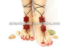 beaded barefoot sandal, Anklet, yoga, lolita, wedding barefoot sandal,beach $1~$4