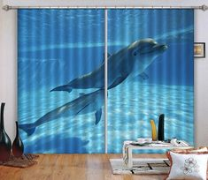Two Blue Dolphins Blockout Photo Curtain Print Curtains Drapes Fabric Window 3d Curtains, Printed Curtains, Sea Dolphin, Photo Wall Stickers, Koi Fish Pond, Pink And White Flowers, Beach Landscape, Graffiti Wall, Draped Fabric