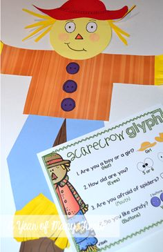 scarecrow glyph craft and writing activity Fall Preschool Activities, Preschool Math, Holiday Activities, Fall Crafts, Halloween Crafts, 1st Grade Writing, Kindergarten Art, School Themes, School Holidays