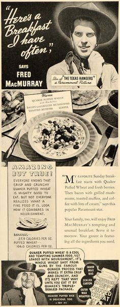 1936 Ad Quaker Oats Puffed Wheat Cereal Breakfast Fred McMurray Texas DL2