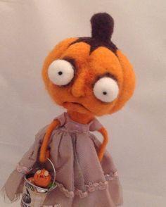 The pumpkin farm  ooak needle felted jack o lantern on Etsy, $120.00