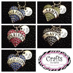Military mom wife aunt daughter girlfriend necklace army navy marines air force coast guard on Etsy, $14.00