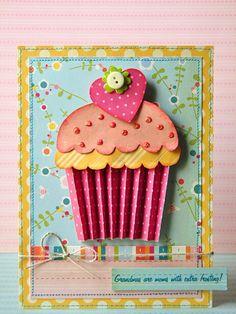 cute dimensional cupcake card