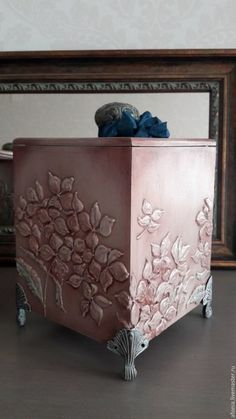 Photo Decoupage Furniture, Decoupage Box, Paint Furniture, Altered Boxes, Altered Art, Cement Art, Painted Boxes, Wood Boxes, Trinket Boxes