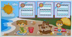 Summer Fun At The Beach - Handmade Premade 12x12 Scrapbook Pages and Paper Piecings by ToriBelle Creations Patterns for the paper piecings are from Designs on Cloud 9.