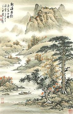 artingstall.com CHINESE LANDSCAPE SCROLL PAINTING