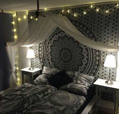 Bohemian Bedroom Decor Indian Black Tapestry Bohemian Bedroom Decor Black Indian Tapestry The Right Cute Bedroom Ideas, Cute Room Decor, Room Ideas Bedroom, Bedroom Designs, Room Tapestry, Mandala Tapestry, Tapestries, Tapestry On Ceiling, Bohemian Wall Tapestry