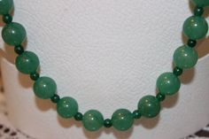 Green Glass Beaded Necklace with Green Spacers by AngeleDesignsLA