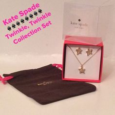 """💕NWT💕.  Kate Spade Twinkle, Twinkle Set Kate Spade Twinkle, Twinkle Collection Set. 15-kt light plated and clear Crystala Gems.  Necklace is 15"""" w/3"""" extender, gold filled stud earring post. Beautiful sparkle!!!  Lobster claw closure. See 4th pic for all info. Boxed set!!!  Great Gift!!!  Comes with Dustbag kate spade Jewelry Necklaces"""