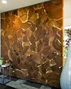 abstract wall of wood decor