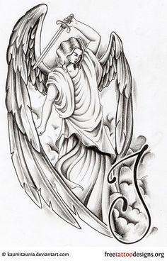 Angel With Dagger Tattoo Design Angel Tattoo Meaning, Fallen Angel Tattoo, Guardian Angel Tattoo, Angel Tattoo Designs, Demon Tattoo, Dagger Tattoo, Sketch Tattoo Design, Tattoo Sketches, St Micheal Tattoo