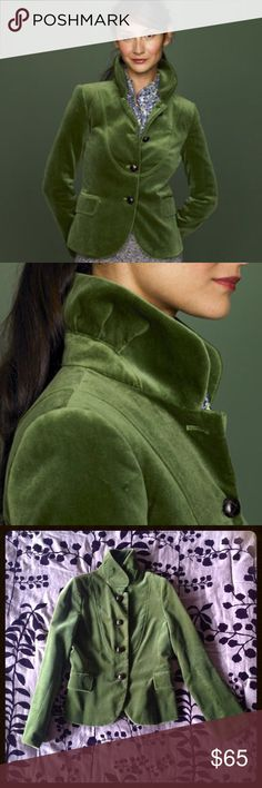 J Crew Bella jacket in green velvet This jacket is beautiful, what with its lovely ruched collar that stands up, brown leather buttons, silky lining, and beautiful, mossy shade of green velvet. Excellent used condition. It's a little tight for me, so it's time for this one to find a new home.  J. Crew Jackets & Coats Blazers