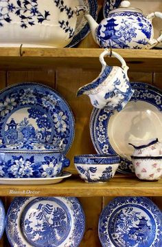 Blue & white.  Our favorite which of course goes with our Blue Willow China which is pictured on bottom and I see a platter above and maybe a couple others. We collect all blue & white oriental pieces or similar.